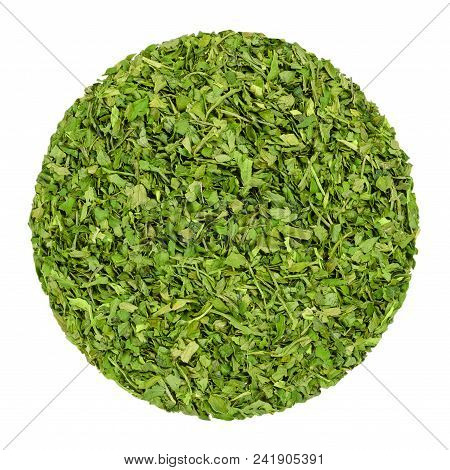 Dried Parsley. Herb Circle From Above, Isolated, Over White. Disc Made Of Chopped Garden Parsley, Al