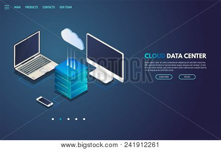 Isometric Laptop, Monitor And Mobile Phone Connected To Cloud Storage Server With Isometric Cloud Ic