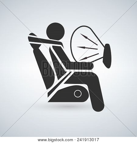 Airbag Sign Vector Illustration Isolated On Light Background