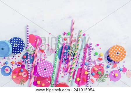 Cocktail Straws, Jar Caps, Confetti And Candies In A Colorful Party Concept, Dessert And Catering Su