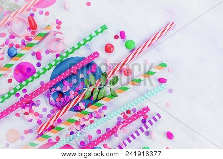 Colorful Cocktail Straws Header With Confetti And Hard Candies. Birthday Or Party Greeting Card Flat