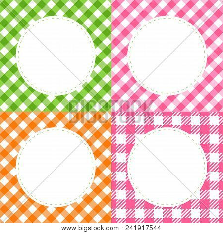 Set Of Checkered Multi Colored Summer Cards With A Round Frame. Vector Cell Of Vichy