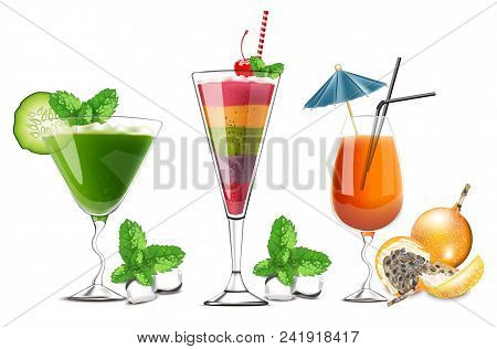 Exotic Fruits Cocktails Glasses Isolated Vector Realistic. Tropic Summer Drinks Detailed 3d Collecti