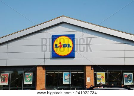ST. LEONARDS-ON-SEA, ENGLAND - MAY 23, 2018: Exterior of a branch of German supermarket chain Lidl. The international company has over 670 stores in the UK.
