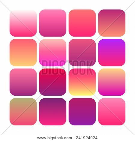 Abstract Set Of Modern Bright Gradient Backgrounds And Texture, Mobile App Vector Icon Templates Set