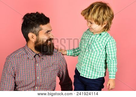 Family&childhood Concept - Happy Father And Son In Checkered Clothing Looking At Each Other. Father'