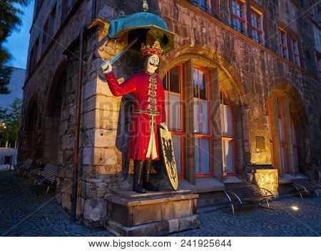 NORDHAUSEN, THURINGIA/GERMANY - JULY 13, 2017: Roland landmark figure is a medieval knight symbolized the imperial freedom from 1220 to 1802 located at Stadt Nordhausen Rathaus