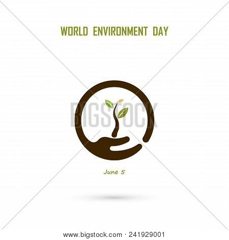 Human Hand And Tree Icon.world Environment Day Concept Vector Logo Design Template.june 5st World En