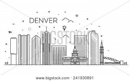 Colorado, Denver. Flat Design Line Vector Illustration Concept