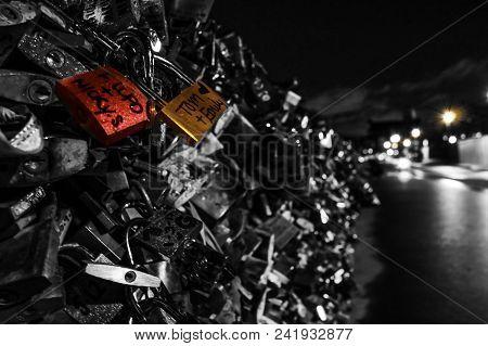 Love Locks In Black And White On A Bridge In Paris