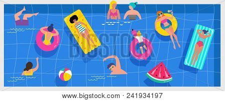 Top View Beach Background, Pool Party, Summer Water Activities, Scene With A Lot Of Tiny People, Cha