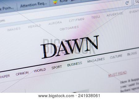 Ryazan, Russia - May 20, 2018: Homepage Of Dawn Website On The Display Of Pc, Url - Dawn.com