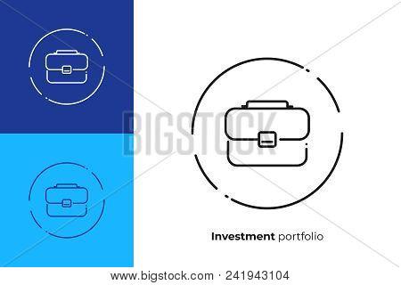 Business Case Line Art Icon, Investment Portfolio Vector Art, Outline Office Suitcase Illustration