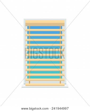 Jalousie Set On Window, Color Vector Illustration Isolated On White Background, Beige Louvers, Blue