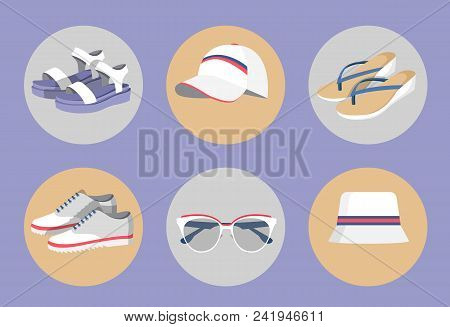 Vogue Wear Isolated In Circles, Colorful Banner With Summer Vogue Clothing, Different Model Shoes An