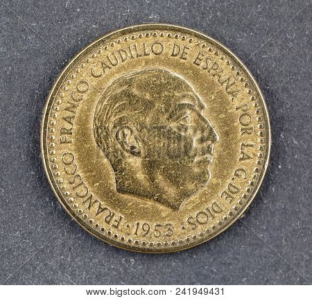 A One Peseta Coin From Spain Dated 1953 During The Reign Of General Franco. The Peseta Was Once The