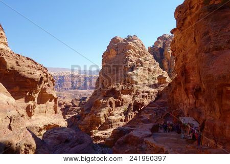 Ancient Abandoned Rock City Of Petra In Jordan With Local Shop In The Background