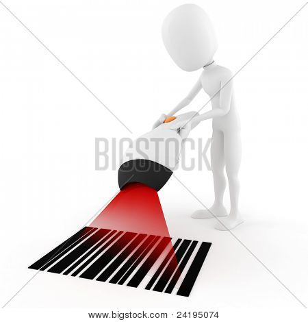 3d man holding a bar code scanner, on white background