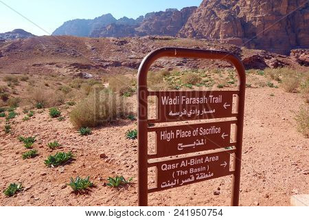Signpost In The Ancient City Of Petra, Jordan, Middle East