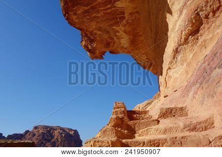 Rocky Staircase Leading To The High Place Of Sacrifice In The Ancient Town Of Petra, Jordan