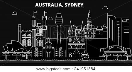 Sidney Silhouette Skyline. Australia - Sidney Vector City, Australian Linear Architecture, Buildings