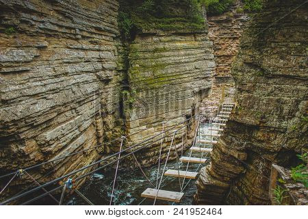 Adventurous Rope Bridge Over Ausable River Seen At Ausable Chasm Tourist Attraction Near Keeseville,