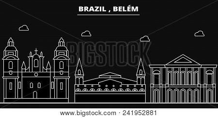 Belem Silhouette Skyline. Brazil - Belem Vector City, Brazilian Linear Architecture, Buildings. Bele