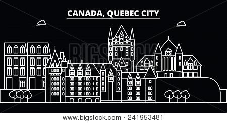Quebec City Silhouette Skyline. Canada - Quebec City Vector City, Canadian Linear Architecture, Buil