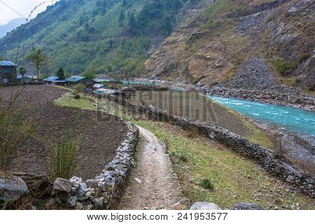 Beautiful Rural Landscape On Spring Day In The Mountains Of Nepal.