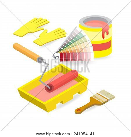 Brush, Roller, Palette, Gloves. Isometric Construction Tools Isolated On A White Background. Colorfu