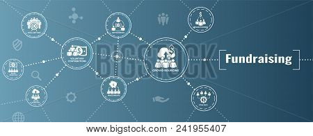 People Working Together - Fund Different Online Ideas With Money Icon Set Web Header Banner
