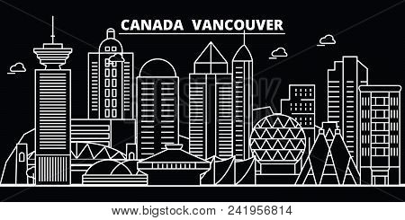 Vancouver City Silhouette Skyline. Canada - Vancouver City Vector City, Canadian Linear Architecture