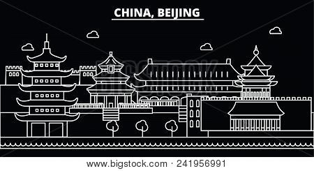 Beijing City Silhouette Skyline. China - Beijing City Vector City, Chinese Linear Architecture, Buil