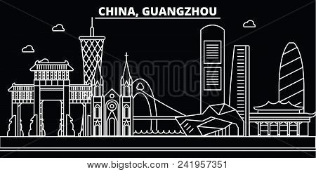 Guangzhou City Silhouette Skyline. China - Guangzhou City Vector City, Chinese Linear Architecture,