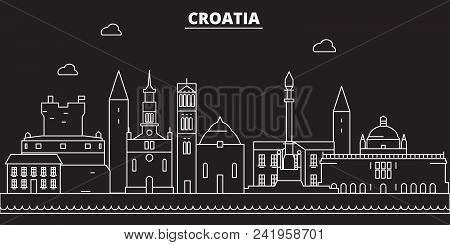 Croatia Silhouette Skyline. Croatia Vector City, Croatian Linear Architecture, Buildingline Travel I