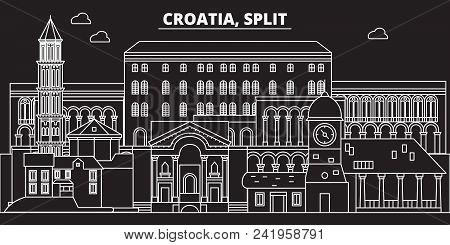 Split silhouette skyline. Croatia - Split vector city, croatian linear architecture, buildings. Split line travel illustration, landmarks. Croatia flat icon, croatian outline design banner poster