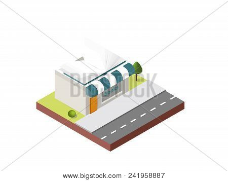 Bookshop Building In Isometric Projection Necessary Creative Designers For Web Projects. Isometric B