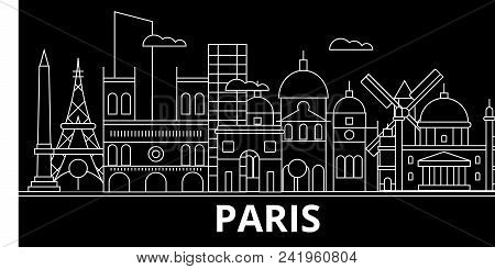 Paris Silhouette Skyline. France - Paris Vector City, French Linear Architecture, Buildings. Paris L