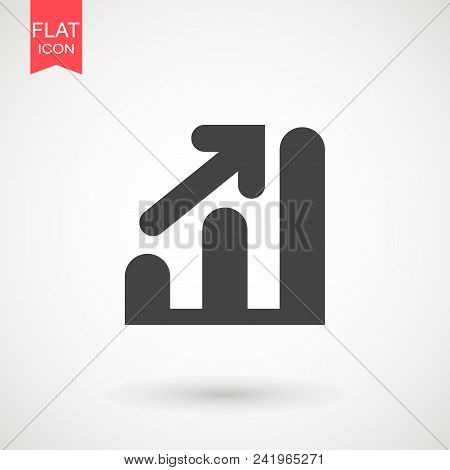 Graph Icon In Trendy Flat Style Isolated On Grey Background. Chart Bar Symbol For Your Web Site Desi