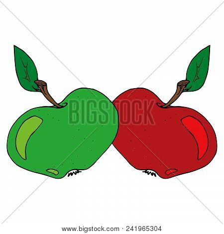 Apple Icon Vector, Flat Design. Ripe Apple With A Leaf. Vector Illustration Of An Apple. Hand Drawn