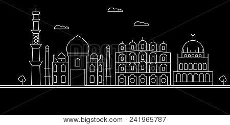Delhi City Silhouette Skyline. India - Delhi City Vector City, Indian Linear Architecture, Buildings