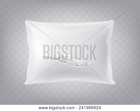Vector 3d Realistic Torn Square Pillow Isolated On Translucent Background. Template, Mock Up Of Whit