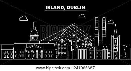 Dublin Silhouette Skyline. Ireland - Dublin Vector City, Irish Linear Architecture, Buildings. Dubli