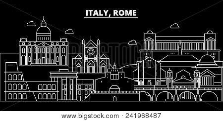 Rome City Silhouette Skyline. Italy - Rome City Vector City, Italian Linear Architecture, Buildings.