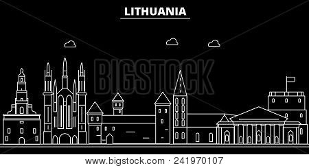Lithuania Silhouette Skyline, City Vector, Lithuanian Linear Architecture, Buildings. Lithuania Line