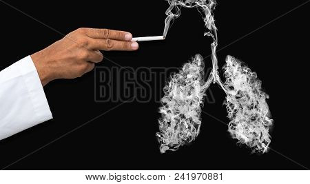 Illustration Of A Man Shooting With A Cigarette Gun With A Toxic Smoke In Lung . Lung Cancer And Ill