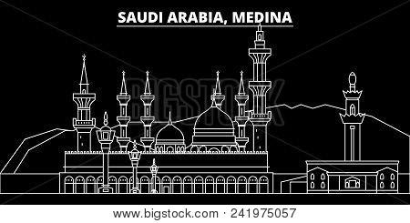 Medina Silhouette Skyline. Saudi Arabia - Medina Vector City, Saudi Arabian Linear Architecture, Bui
