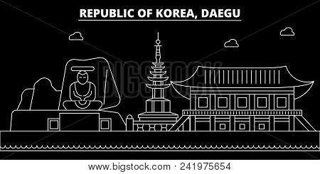 Daegu Silhouette Skyline. South Korea - Daegu Vector City, Korean Linear Architecture, Buildings. Da