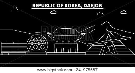 Daejon Silhouette Skyline. South Korea - Daejon Vector City, Korean Linear Architecture, Buildings.