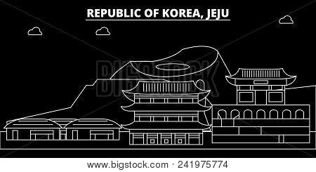 Jeju Silhouette Skyline. South Korea - Jeju Vector City, Korean Linear Architecture, Buildings. Jeju